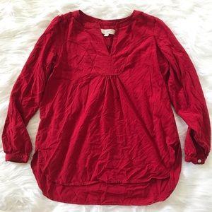 Loft Petite Red Long Sleeve Flowy Blouse